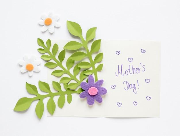 Bovenaanzicht moederdag kaart