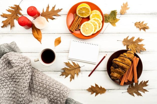 Bovenaanzicht mooie herfst lay-out