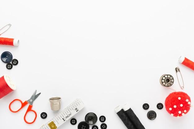Bovenaanzicht naaien accessoires met kopie ruimte