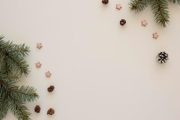 Bovenaanzicht natuurlijke dennennaalden witte kopie ruimte