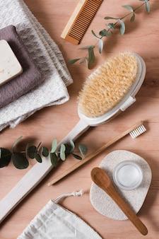Bovenaanzicht natuurlijke haarborstel