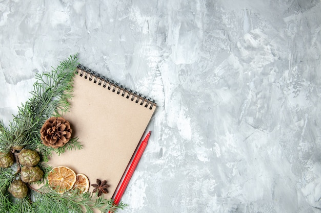 Bovenaanzicht notebook gedroogde schijfjes citroen anijs pijnboom takken rood potlood op grijs oppervlak