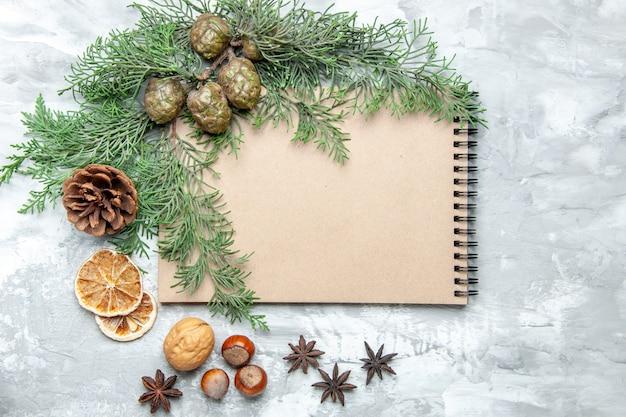 Bovenaanzicht notebook gedroogde schijfjes citroen anijs pijnboom takken walnoot hazelnoot op grijs oppervlak