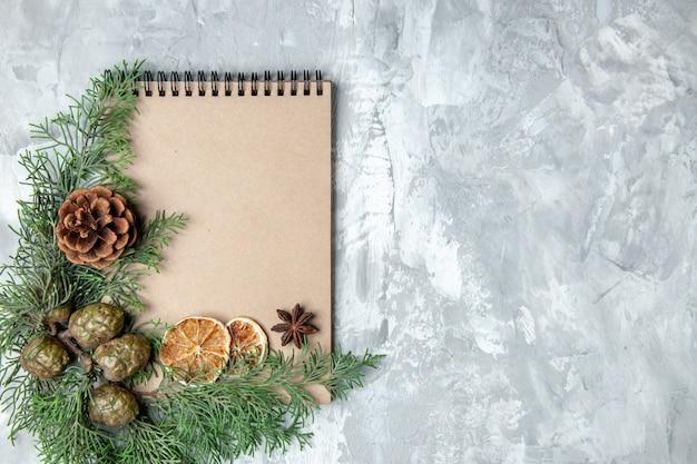 Bovenaanzicht notebook gedroogde schijfjes citroen anijs pijnboomtakken op grijze achtergrond met vrije ruimte