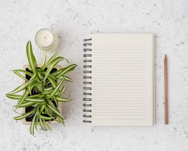 Bovenaanzicht notitieblok met planten en kaars