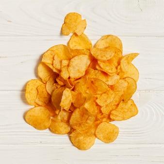 Bovenaanzicht ongezonde snack