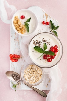 Bovenaanzicht ontbijt bio food lifestyle concept