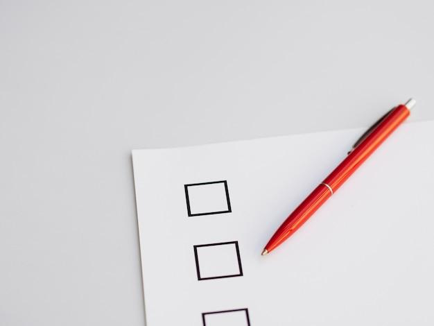 Bovenaanzicht onvolledige vragenlijst