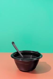 Bovenaanzicht op afval koken concept
