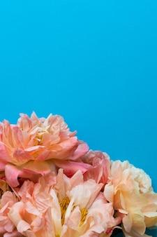 Bovenaanzicht op boeket pioenrozen, bloemen op blauwe achtergrond, plat gelegd, kopieer ruimte