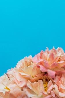 Bovenaanzicht op boeket van pioenrozen, bloemen op blauwe achtergrond, plat leggen, kopie ruimte