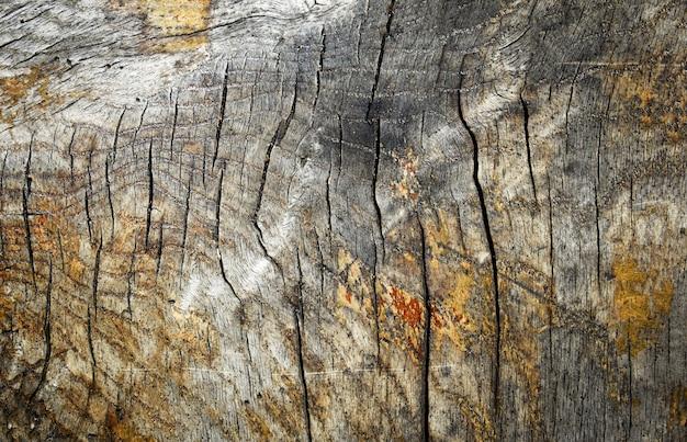Bovenaanzicht op natuurlijk verweerd geknoopt hout met diepe scheuren