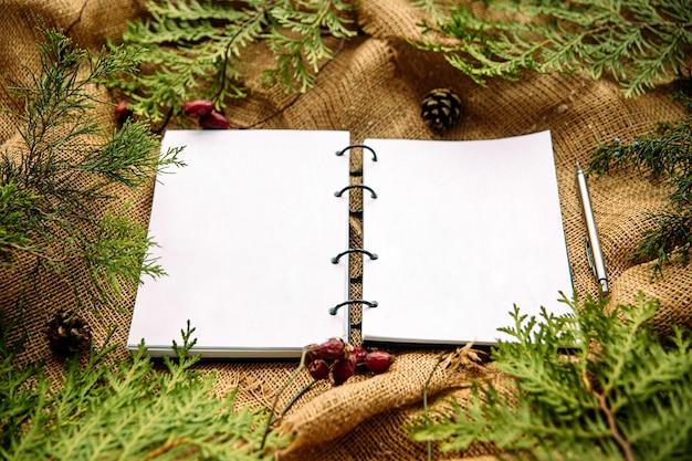 Bovenaanzicht op notebook met feestelijke spar