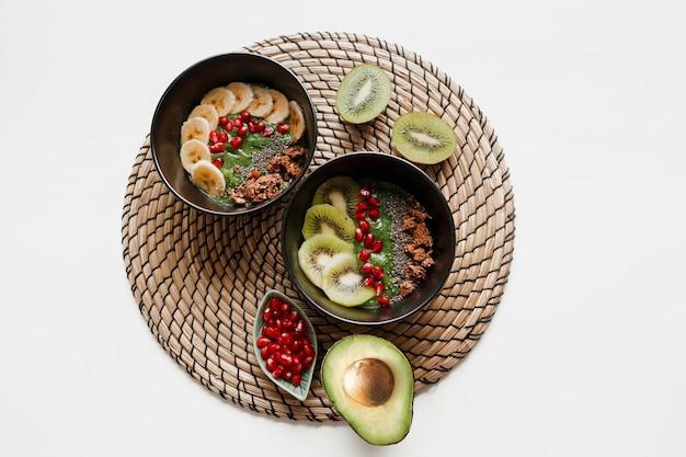 Bovenaanzicht op plaat van groene smoothiekom gegarneerd met avocado en spinazie, granaatappelpitjes en granola.