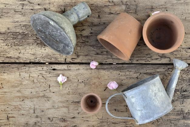 Bovenaanzicht op terracotta bloempotten en een kleine gieter op een rustieke plank met bloemblaadjes