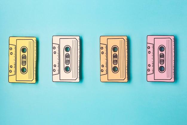 Bovenaanzicht opstelling met cassettebandjes