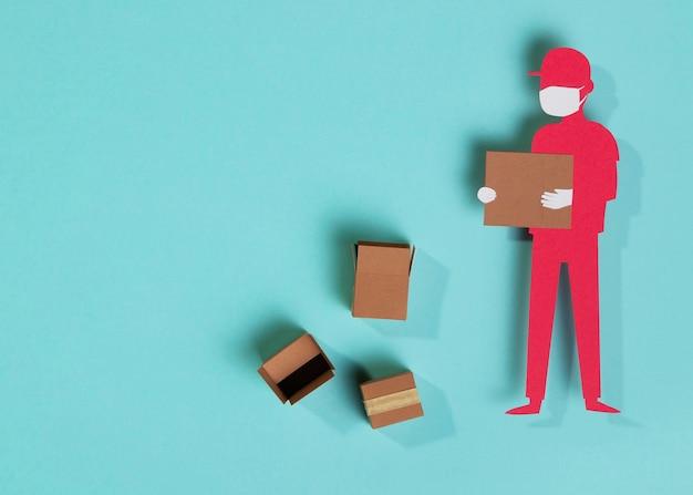 Bovenaanzicht papier bezorger man met doos