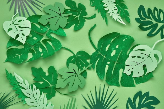Bovenaanzicht, papier tropische bladeren op groen papier