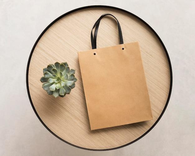 Bovenaanzicht papieren zak met vetplant