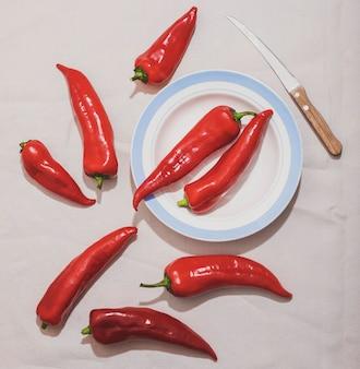 Bovenaanzicht paprika en plaat arrangement