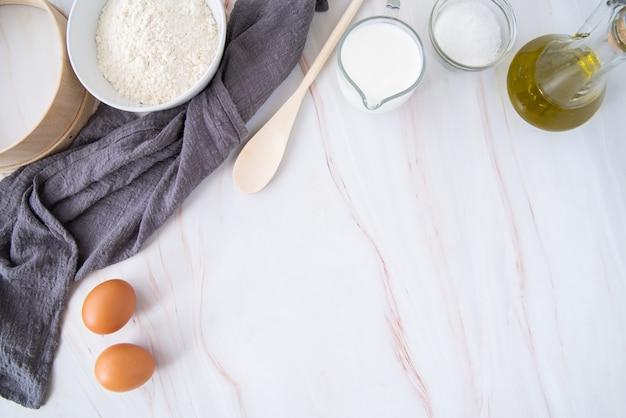Bovenaanzicht pasta ingrediënten frame