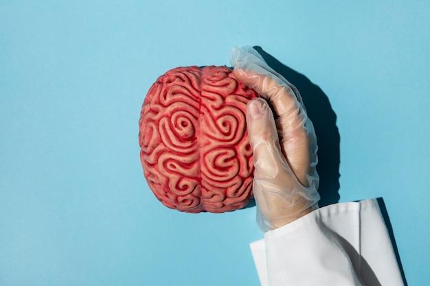 Bovenaanzicht persoon met een brein
