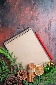 Bovenaanzicht pijnboomtakken en dennenappels op een notebook rode pen gedroogde citroen plakjes kaneel op donkerrode oppervlakte vrije ruimte