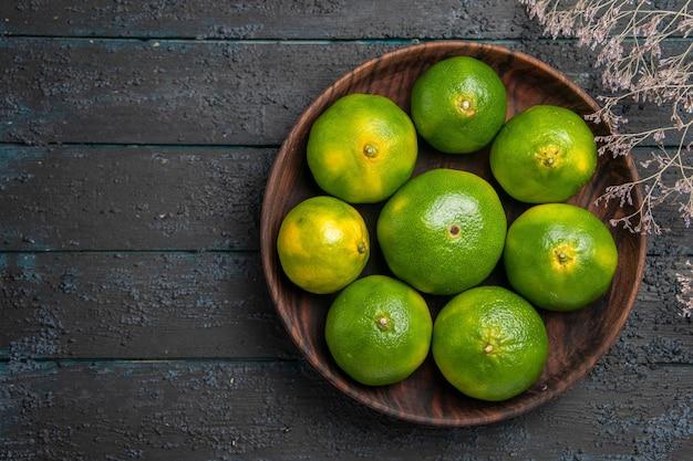 Bovenaanzicht plaat van limoenen plaat van smakelijke limoenen op tafel naast de takken