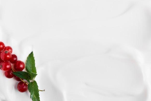 Bovenaanzicht plakken witte natuurlijke yoghurt en veenbessen