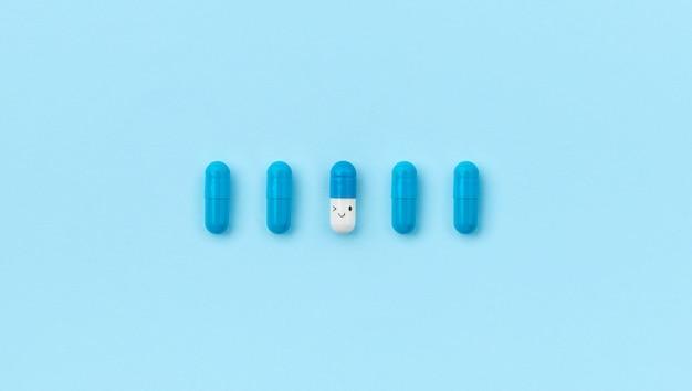 Bovenaanzicht plat lag biologisch actieve supplementen