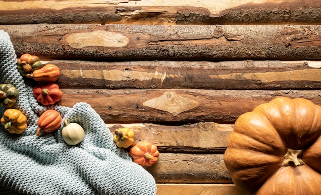 Bovenaanzicht pompoenen op gehaakte deken