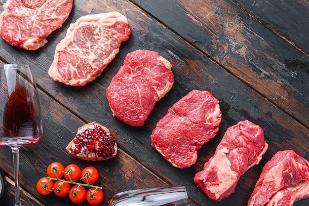 Bovenaanzicht rauwe biefstuk