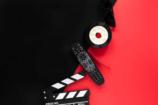 Bovenaanzicht regeling van filmelementen met kopie ruimte