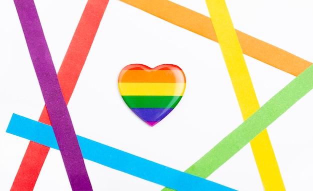 Bovenaanzicht regenboog hart