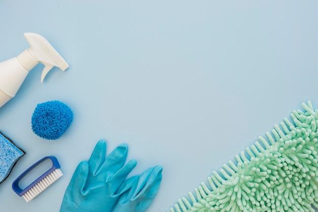 Bovenaanzicht reinigingsapparatuur met kopie ruimte