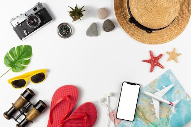 Bovenaanzicht reiselementen collectie
