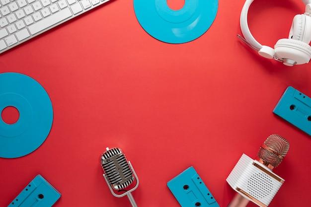 Bovenaanzicht rond frame met radio-items