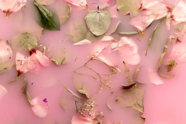 Bovenaanzicht roze bloemblaadjes en bladeren in roze gekleurd water