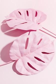 Bovenaanzicht roze palmbladeren