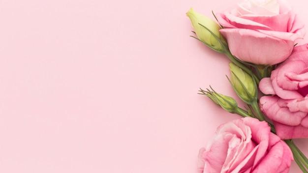Bovenaanzicht roze rozen met kopie-ruimte