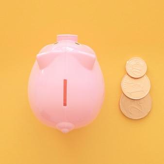 Bovenaanzicht roze spaarvarken met munten