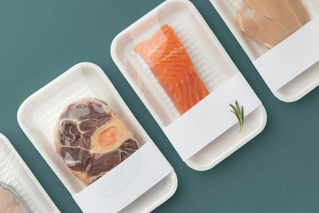 Bovenaanzicht samenstelling van gezond bevroren voedsel