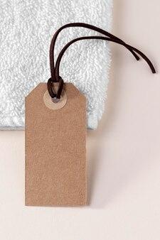 Bovenaanzicht samenstelling van lege kartonnen label