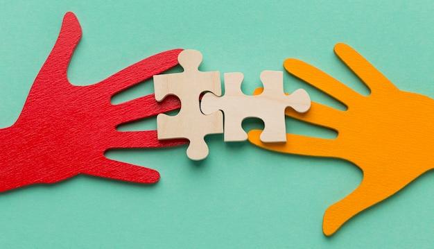 Bovenaanzicht samenstelling van stilleven vriendschap dag elementen