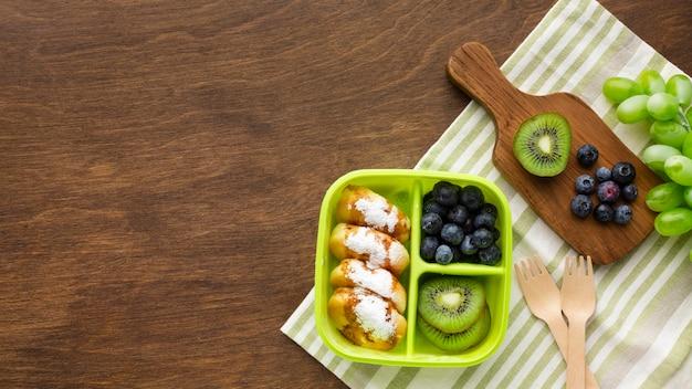 Bovenaanzicht samenstelling van verschillende voedingsmiddelen