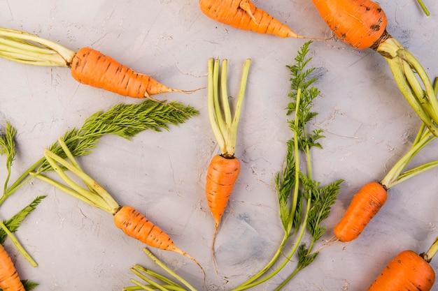 Bovenaanzicht samenstelling van wortelen