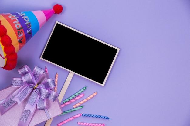 Bovenaanzicht schoolbord en decoratie