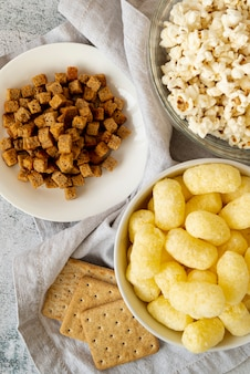 Bovenaanzicht snacks sortiments