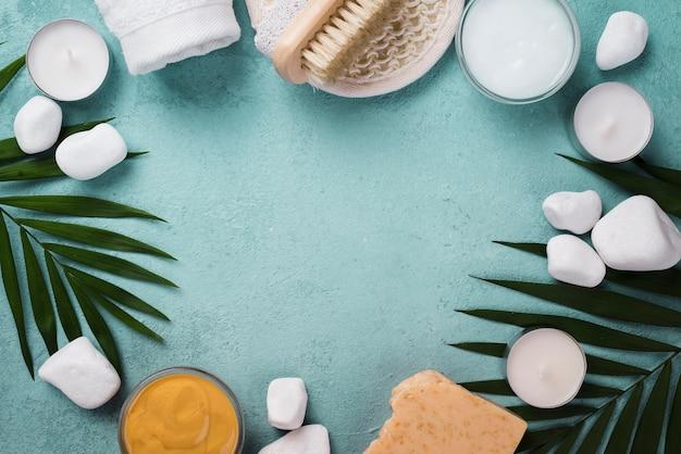 Bovenaanzicht spa-behandeling accessoires met kopie ruimte
