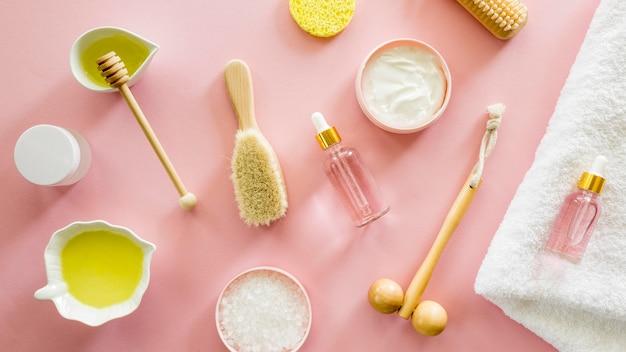 Bovenaanzicht spa natuurlijke cosmetica